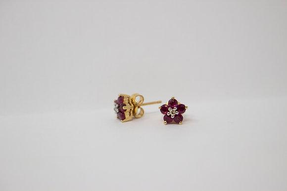 14k Gold Natural Ruby Corundum & Diamond Earrings