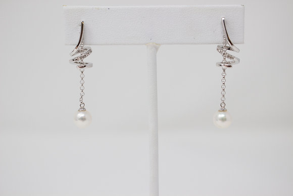 14k White Gold Cultured Saltwater Pearl & Diamond Earrings