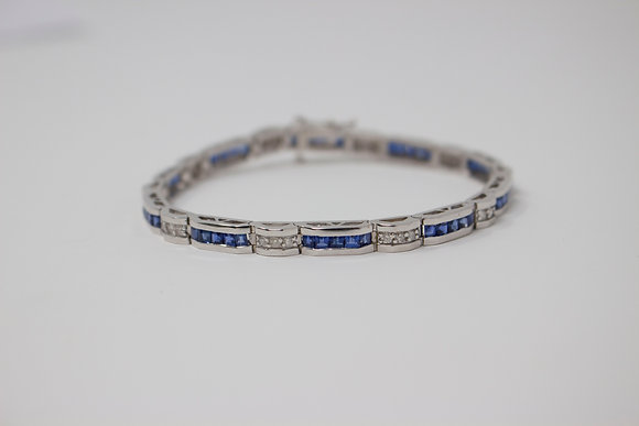14k White Gold Natural Sapphire & Diamond Bracelet