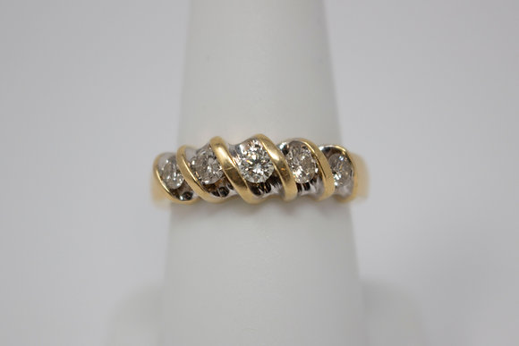 14k Gold Five Diamond Ring