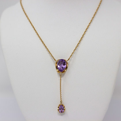 14k Gold Natural Amethyst Necklace