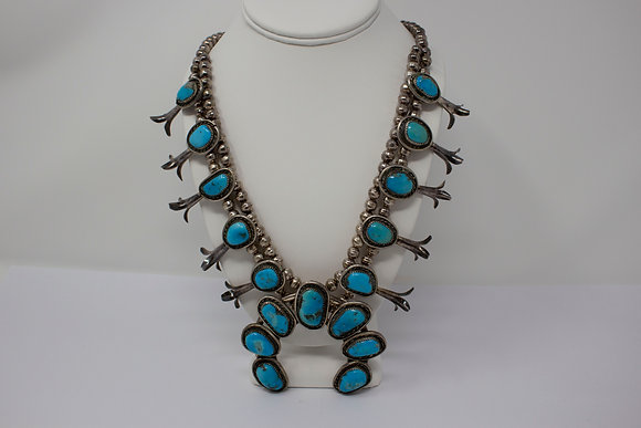 Sterling Silver Vintage Navajo Turquoise Squash Blossom Necklace