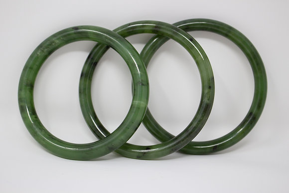 Natural Nephrite Jade Bangle Bracelet - Set of 3