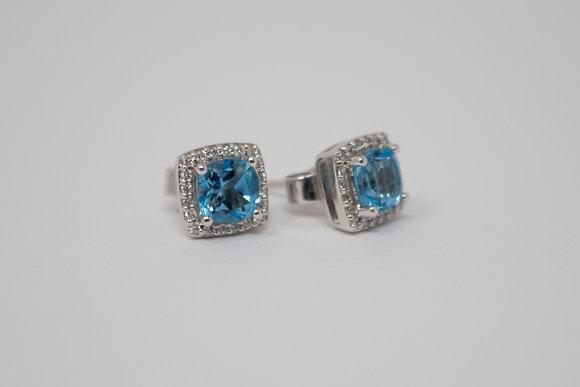 14k White Gold Natural Blue Topaz & Diamond Earrings
