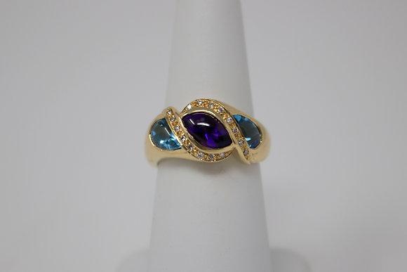 18k Gold Natural Amethyst, Topaz & Diamond Ring