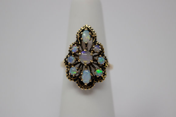 14k Gold Natural Crystal Opal Ring