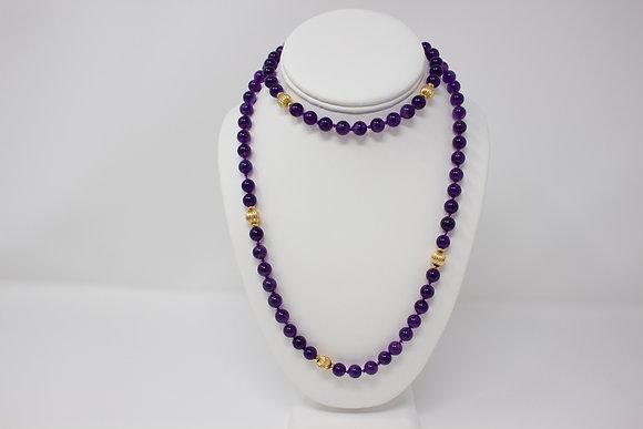 14k Gold Amethyst Quartz Bead Necklace