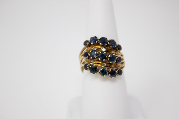 14k Gold Natural Blue Sapphire (5) Band Ring