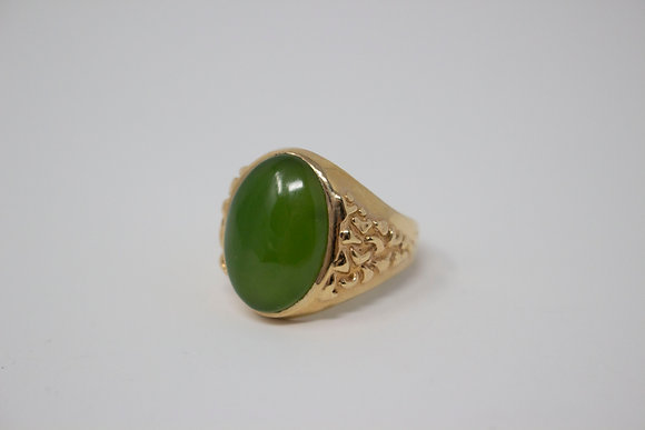 14k Gold Natural Nephrite Jade Ring