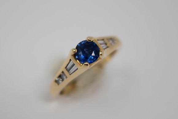 14k Gold Natural Sapphire & Diamond Ring