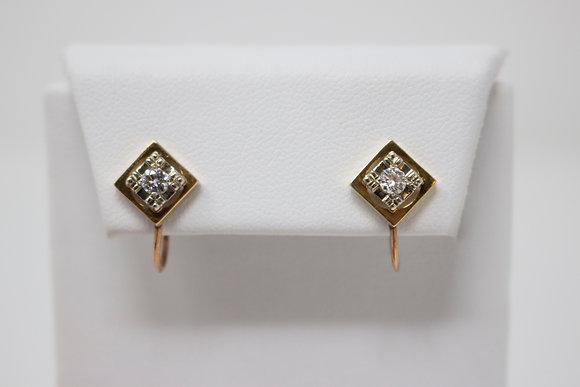 10k Gold Diamond Dangle Style Screw Back Earrings