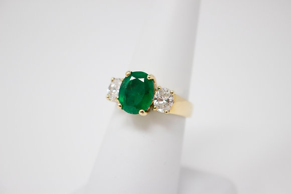 14k Yellow Gold Natural Emerald & Diamond Ring