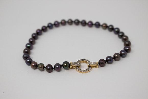 14k Gold Cultured Freshwater Pearl & Diamond Bracelet