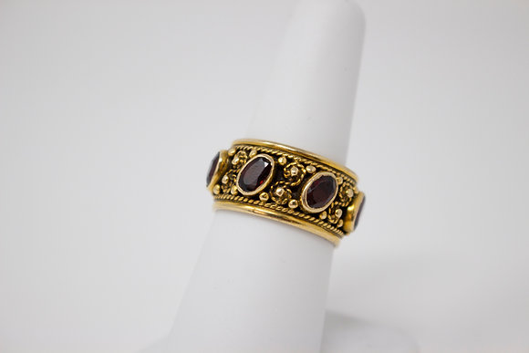 14k Yellow Gold Natural Pyrope Spessartine Garnet Ring