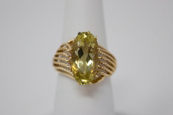 14k Gold Natural Citrine Ring