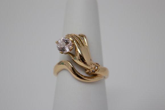 18k Gold Natural Morganite & Diamond Ring