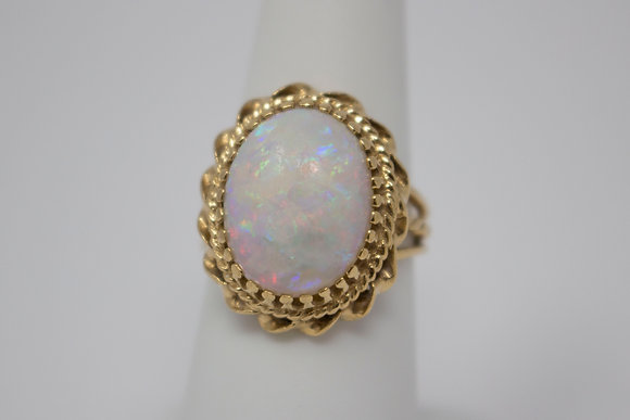 14k Gold Natural White Opal Ring