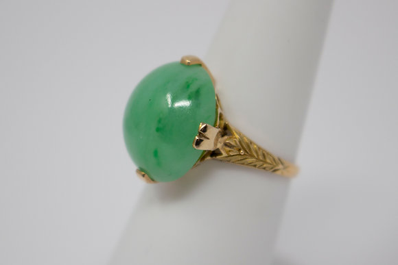 18k Gold Natural Jadeite Jade Ring