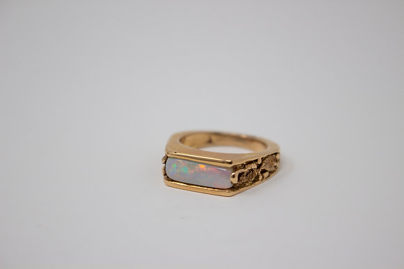 18k Rose Gold Natural White Opal Ring