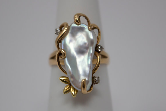 14k Gold Freshwater Baroque Pearl & Diamond Ring