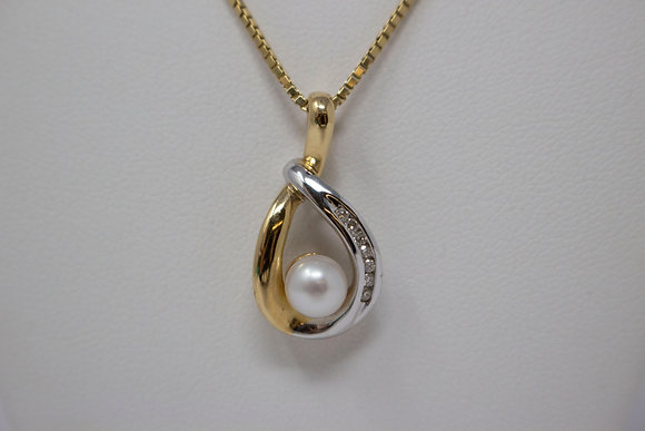 14k Two-Tone Gold Cultured Saltwater Pearl & Diamond Pendant