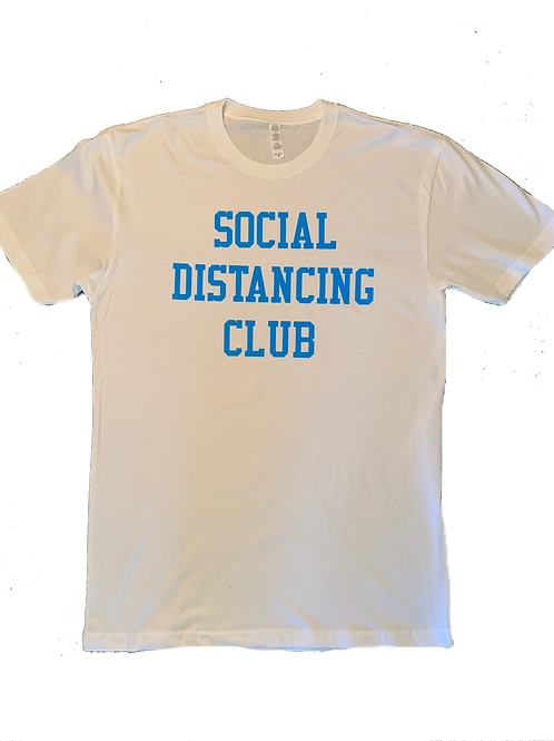 "Kids White T-Shirt w/ Turq ""Social Distancing Club"" print"