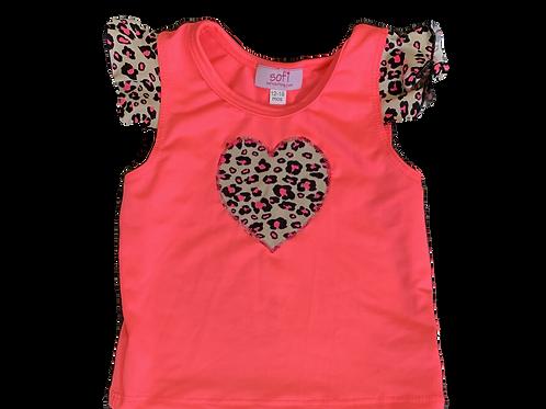 Tan Cheetah Ruffle Shirt