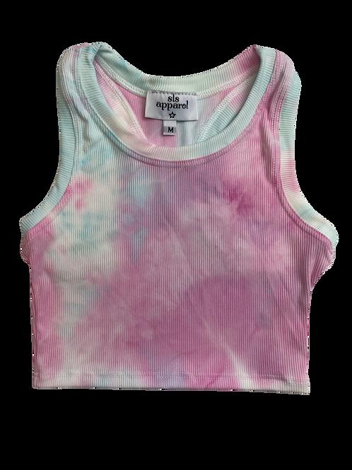 Pink/Blue Tie Dye Racerback Tank Top