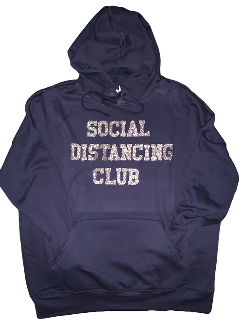 "Navy Hoodie w/ Silver Glitter ""Social Distancing Club"" print"