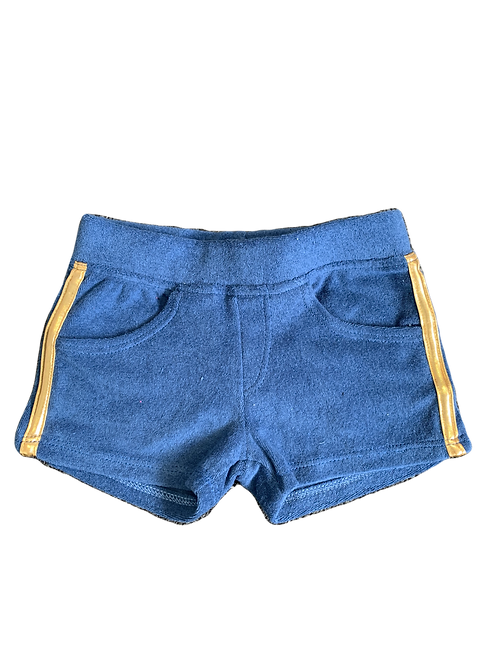 Blue/Gold Terry Cloth Pocket Shorts