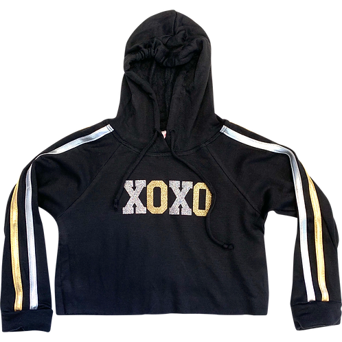 Black Crop Hooded XOXO Sweatshirt