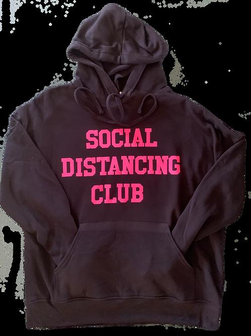 """Black Hoodie w/ Hot Pink """"Social Distancing"""" print"""
