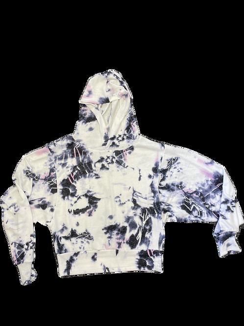 White Cashmere Tie Dye Banded Waist Dolman Sleeve Hoodie