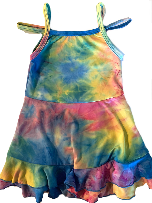Rainbow Tie Dye Strap Tank Dress