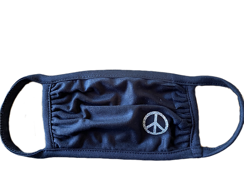 Navy Mask w/ Glitter Peace Sign