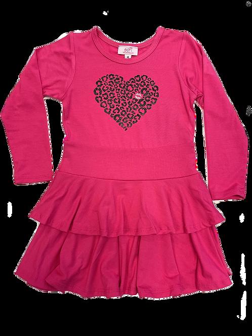 Fuchsia Heart Double Ruffle Dress