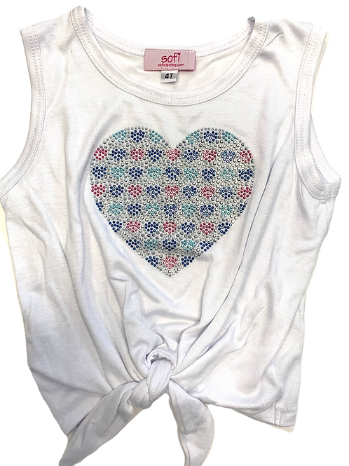 White Tie Tank with Heart