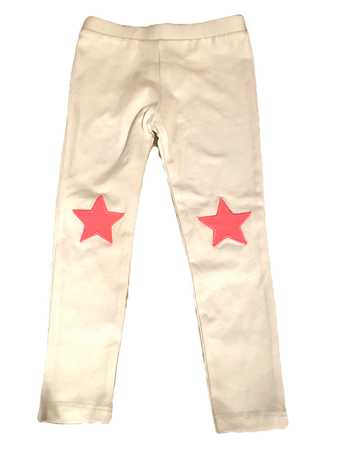 White Leggings with Neon Pink Stars