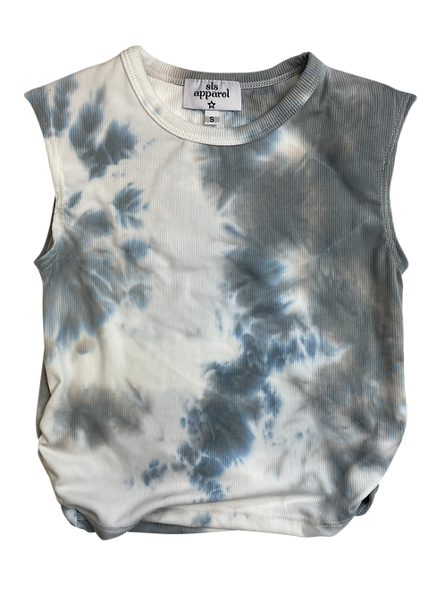 Gray/White Tie Dye Ribbed Shoulder Pad Top