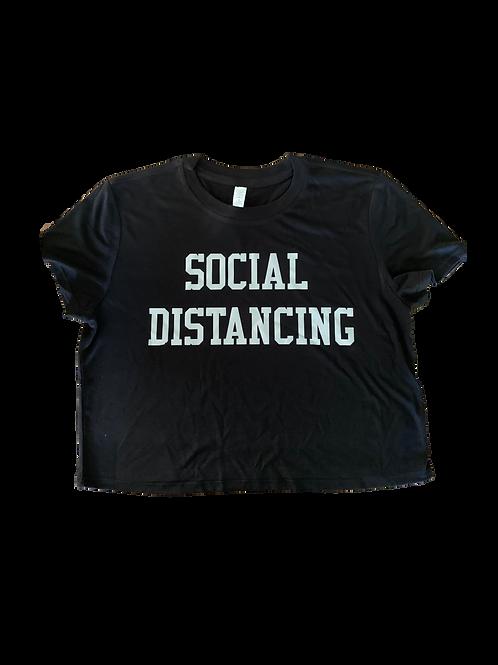 "Women's Crop T-Shirt w/ Silver ""Social Distancing"" print"