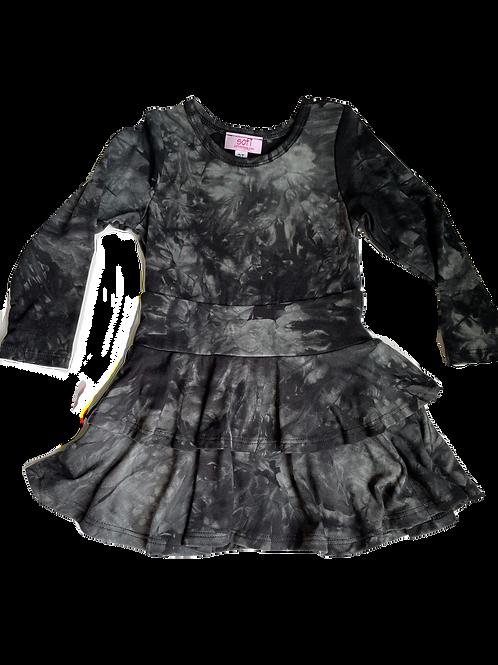 Black Tie Dye Double Ruffle Dres