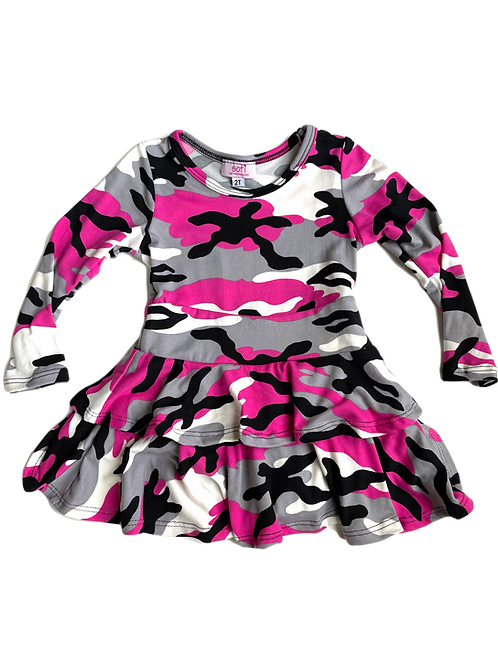 Fuchsia Camo Double Ruffle Dress