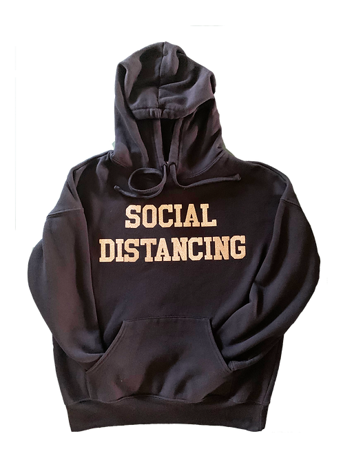 "Black Hoodie w/ Gold Glitter ""Social Distancing"" print"