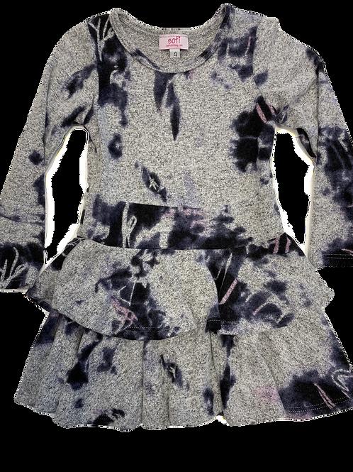 Grey Cashmere Double Ruffle Dress