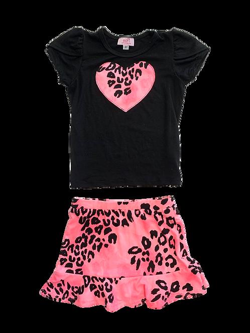 Black Top / Neon Skirt