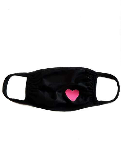 Black Mask w/ Hot Pink Heart