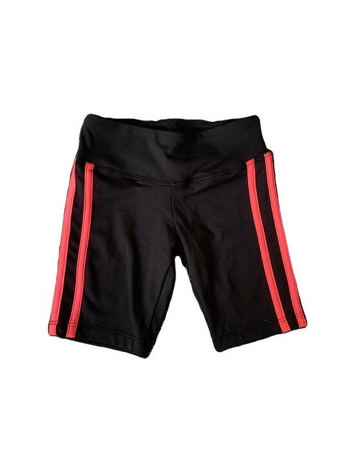 Black Bike Shorts with Hot Pink Stripe