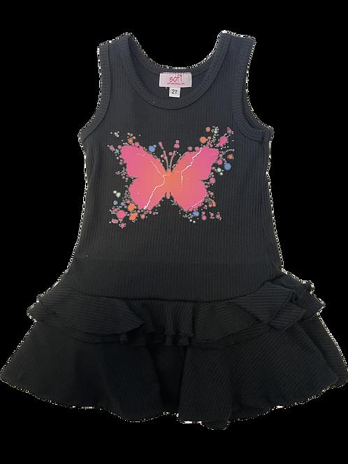 Black w/ Butterfly Tank Ruffle Dress
