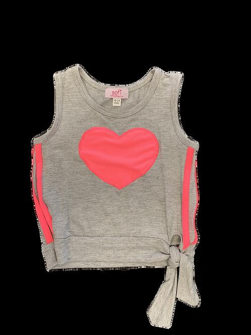 Heather Gray Neon Pink Heart Tie Tank