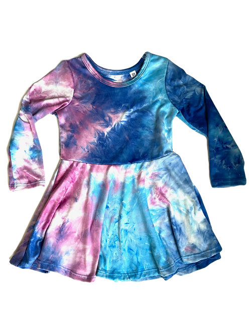 Navy/Turq/Purple Tie Dye Dress Dress